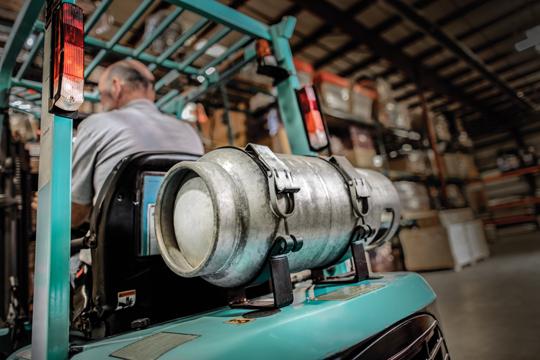 Forklift propane cylinder refilling